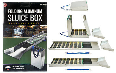"SE"" 50"" Folding Aluminum Sluice Box & FREE Roll of Extra Miner's Moss 12""x 36"""