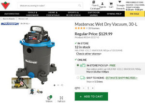 Mastercraft Wet-Dry Vacuum (Shop-Vac), 30L cap. *BRAND NEW*