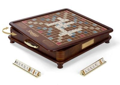 Scrabble Luxury Edition With Rotating Wooden Game Board By Winning Solutions New