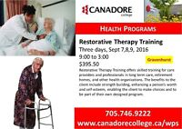 Restorative Therapy Training, Canadore College, Gravenhurst