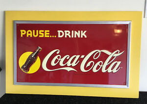 Large COCA COLA Metal Sign - Mounted on MDF