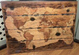 Antique World Map Wall Hanging