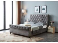 🔔🔔DOUBLE🔔🔔 SLEIGH GREY PLUSH VELVET BED FRAMES .. AVAILABLE FOR DELIVERY