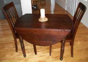 Oval drop Leaf Table & 2 Chairs