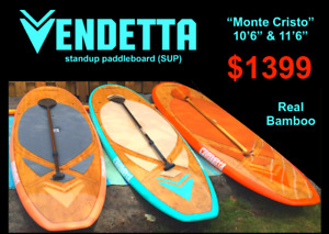 """New Vendetta Bamboo Stand Up Paddleboards SUPs 10ft 6"""" or 11ft 6"""