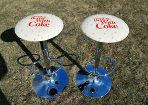 Coca Cola bar stools, adjustable height and swivels