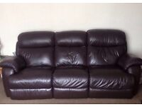 Two X Three Seater Brown Leather Reclining Sofa Suite