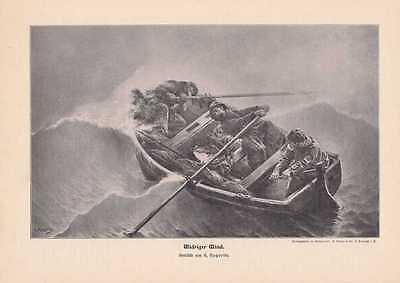 """""""Widriger Wind"""" Fischerboot Ruderboot im Sturm HOLZSTICH von 1905"""