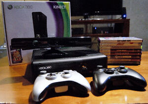 XBOX 360 Console with Kinect + 8 games