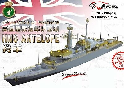 Photo-Etched PE 1/700 Type 21 Frigate HMS Antelope (for Dra) 700299