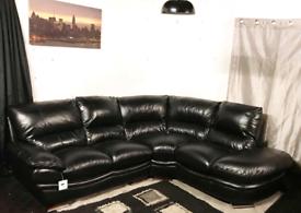 * Dfs ex display black real leather corner sofa