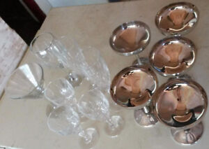 glassware and sterling silver goblets