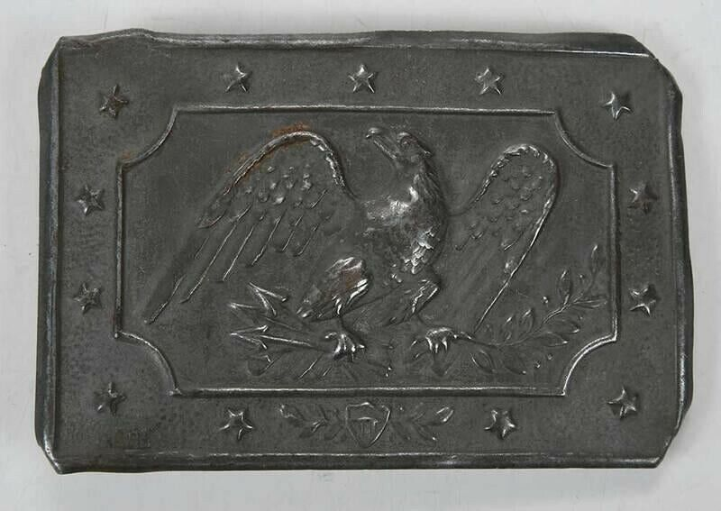 Civil War militia buckle, very rare sheet pewter stamped buckle