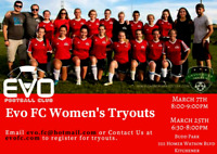Women's 2018 outdoor tryouts- Evo FC