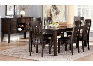 Ashley Haddigan Style Classic Dining Table Set With 6 Chairs