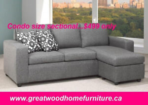 SECTIONAL WITH REVERSIBLE CHAISE .CONDO SIZE ...$499$499.00