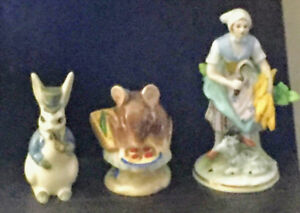 Beatrix potter figurine and two antique royal figurines