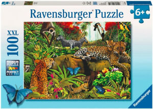 RAVENSBURGER PUZZLE 1OO PCS. JUNGLE SAUVAGE 2009 COMME NEUF