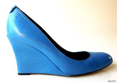 new $535 GUCCI blue leather GG logo WEDGES shoes 40 US 10 - super comfortable