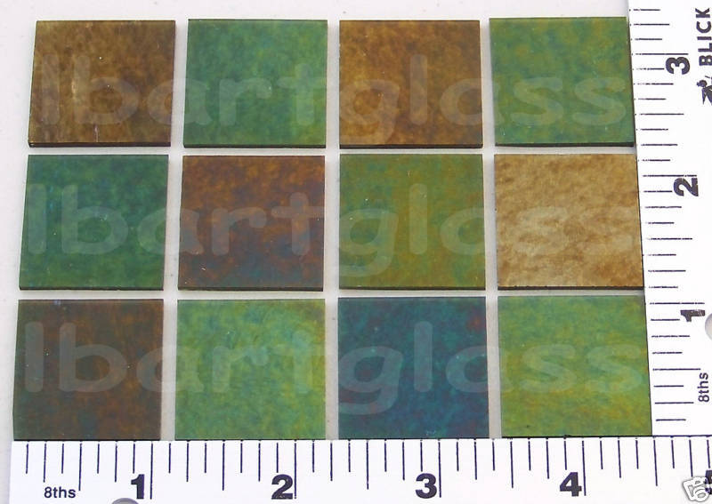"12 THIN PINE GREEN 1""x 1"" IRIDIZED BULLSEYE GLASS 90 COE"