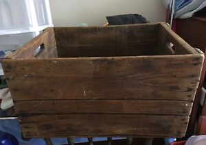 Antique wooden advertising shipping crate