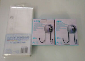 Two double suction hooks and shower liner