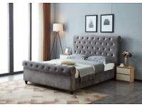 Brand New Super king Size Blake Sleigh Beds - Available in Plush Velvet Grey With Mattress