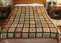 "Multi-colored CROCHET Granny Square AFGHAN BLANKET - 72"" x 60"""