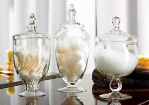 3 Piece Set Decorative Clear Glass Apothecary Jars / Wedding Centerpiece / Candy