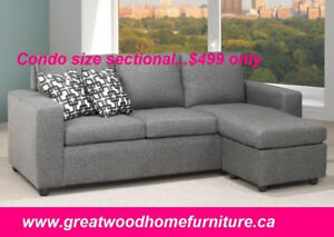 SECTIONAL WITH REVERSIBLE CHAISE .CONDO SIZE ...$499$499.00$499
