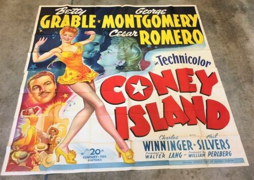 Coney Island Six Sheet Movie Poster - Grable Romero 1943  *Hollywood Posters*