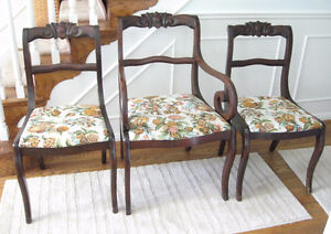Set of 6 Dining Room Chairs with Carving