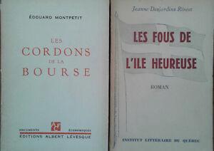 Livres anciens auteurs québécois 1920 à 1964