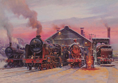 Basingstoke Shed Southern Railway BR Engine Steam Train Christmas Xmas Card