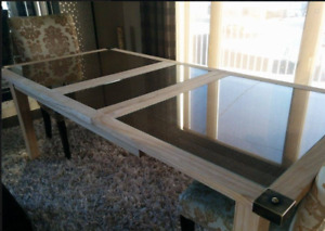 table de salle à manger en bois et rotin (haut de gamme)