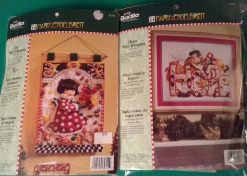 RARE OOP Bucilla Mary Engelbreit HOPE and JOY Christmas Felt Kits 85342 & 85343