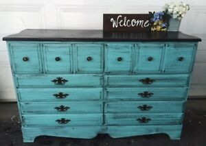 GORGEOUS turquoise Accent Wood Dresser with 6 drawers-145$