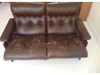 1970s vintage leather & hardwood sofa