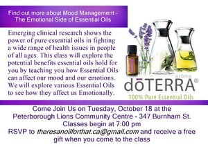 ESSENTIAL OILS & EMOTIONS- PETERBOROUGH LIONS COMMUNITY CENTRE Peterborough Peterborough Area image 1