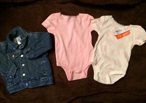 New. Joe Onesies and BabyGap denim jacket