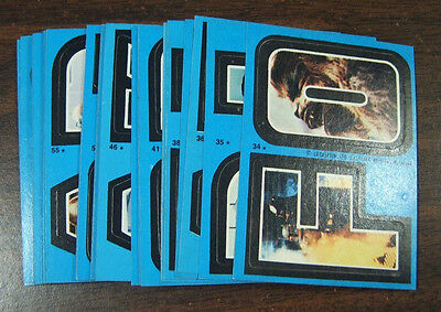 1980 Topps Star Wars Empire Strikes Back Series 2 Complete 33 Blue Sticker Set