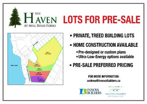 LARGE, PRIVATE, TREED LOTS CLOSE TO HRM NOW PRE-SELLING!