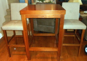 Cherry Table & 2 Teak Chairs	- Cherry/Teak