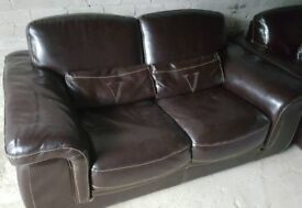 Vilino Brown Leather 2 two Seater Comfy Sofa