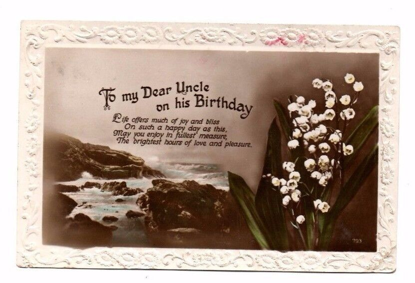 Details About Real Photo Birthday Greetings Postcard To My Dear Uncle Franked 1930