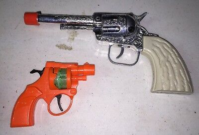 Toy CAP GUNS Cowboy type X 6 mixed Revolvers collection lot LooK