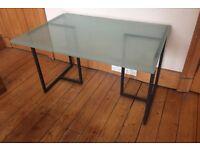 Habitat frosted glass table top desk black metal trestles