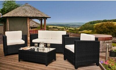 4PC Rattan Garden Patio Furniture Set Outdoor - 2 Seater Sofa, Chairs & Table