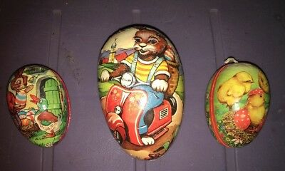 vintage 3  Paper Mache art craft easter eggs  bunny on scooter Chicks German egg