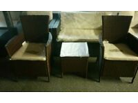 A brand new mixed brown 3 piece garden rattan furniture set.